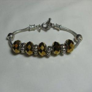 Silver Gold Rhinestone Bead Bracelet